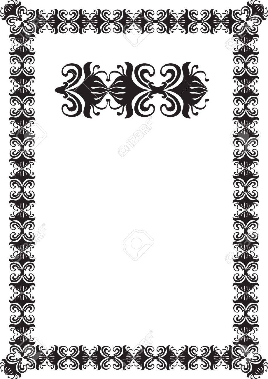 black floral frame border pattern Stock Photo - 7780340