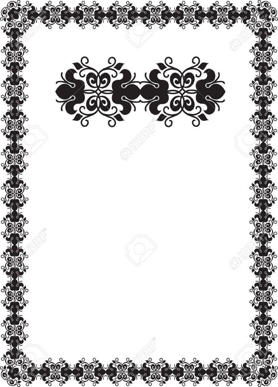 black floral frame border pattern Stock Photo - 7780341
