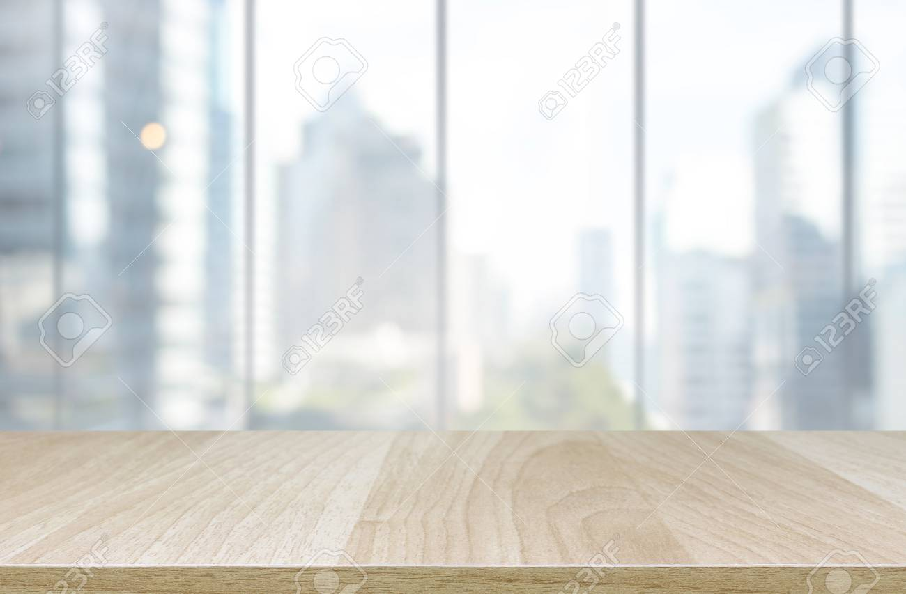 Beau Stock Photo   Wood Table Top And Blur Glass Window Wall Building Background    Can Used For Display Or Montage Your Products.