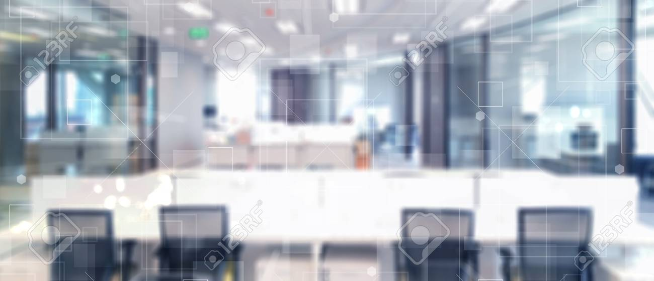 Abstract Blurred Technology Motion Interior Office Space Background With  Futuristic Technology Connection Shape Stock Photo