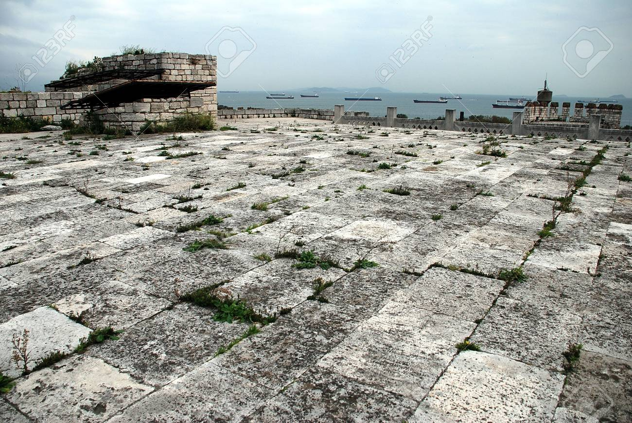 View from the top of the Yedikule fortress (Istanbul/Turkey) on the ships in Bosphorus. - 5420461