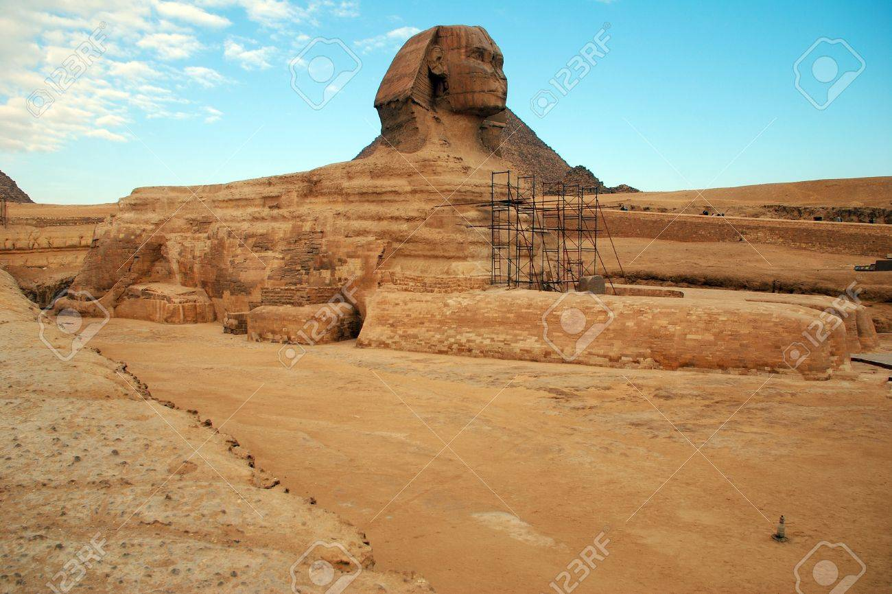 Egypt. Cairo. Giza. View of the fully unearthed Sphinx during the restoration works. Stock Photo - 10331413