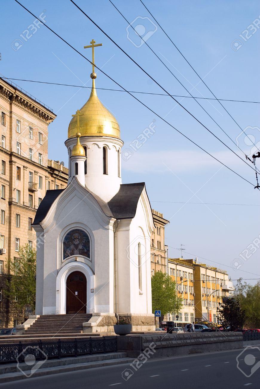 Russia. Novosibirsk. The Orthodox chapel of Saint Nikolay on Red avenue - 12375093