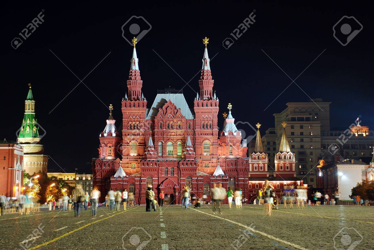 National Historic museum in Moscow by night - 12375091