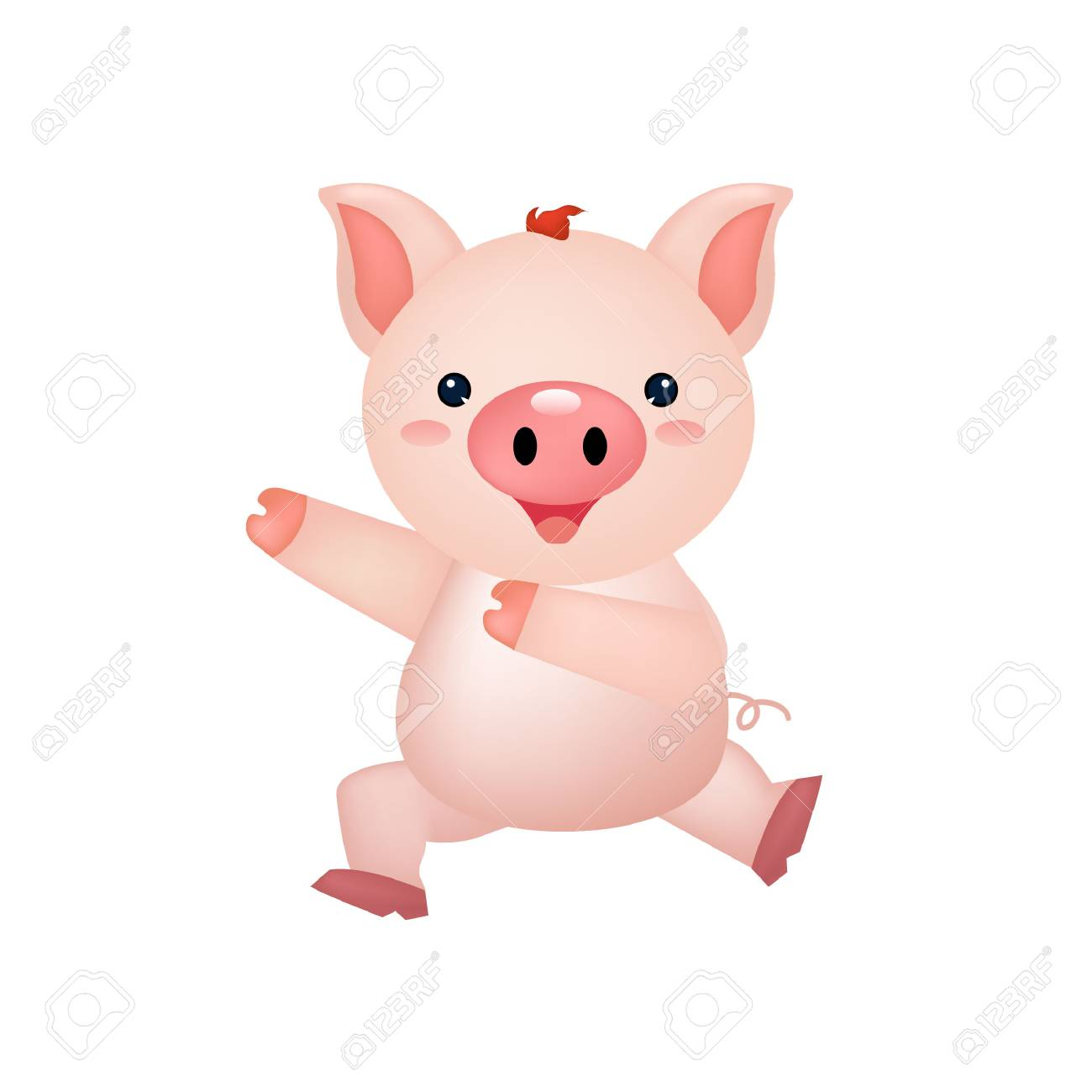 Cute Pig Happy Dance Illustration Royalty Free Cliparts Vectors And Stock Illustration Image 117796307