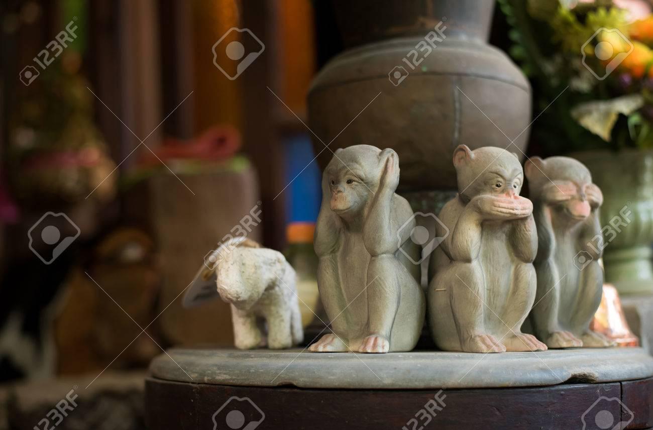 Mund Augen Ohr Affe Drei Nahe Ton Konzept Sehen Hören Statue ...
