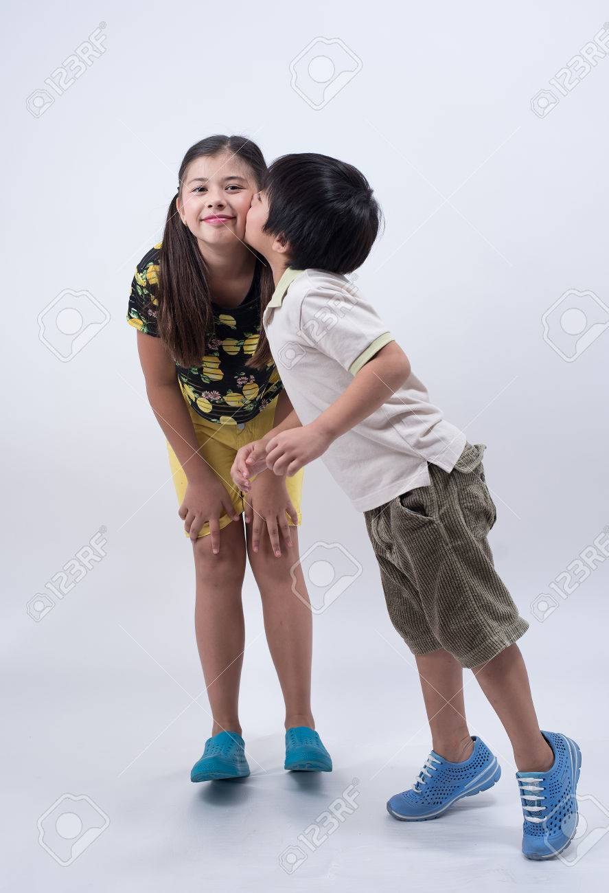 Brother Sister Love Family Asian Kids Cute Boy Girl Young Happy
