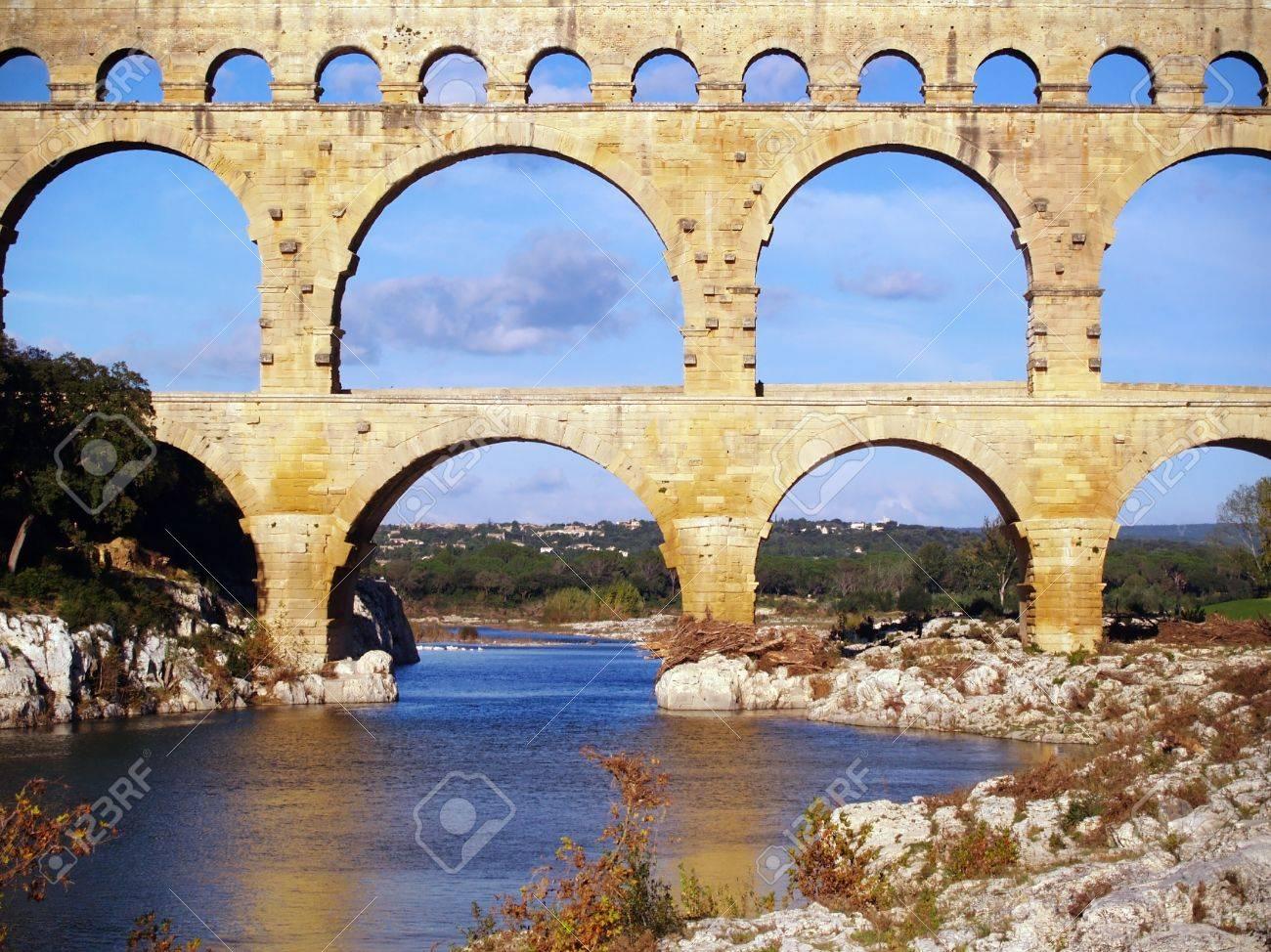 roman aqueduct pont du gard south of france stock photo picture