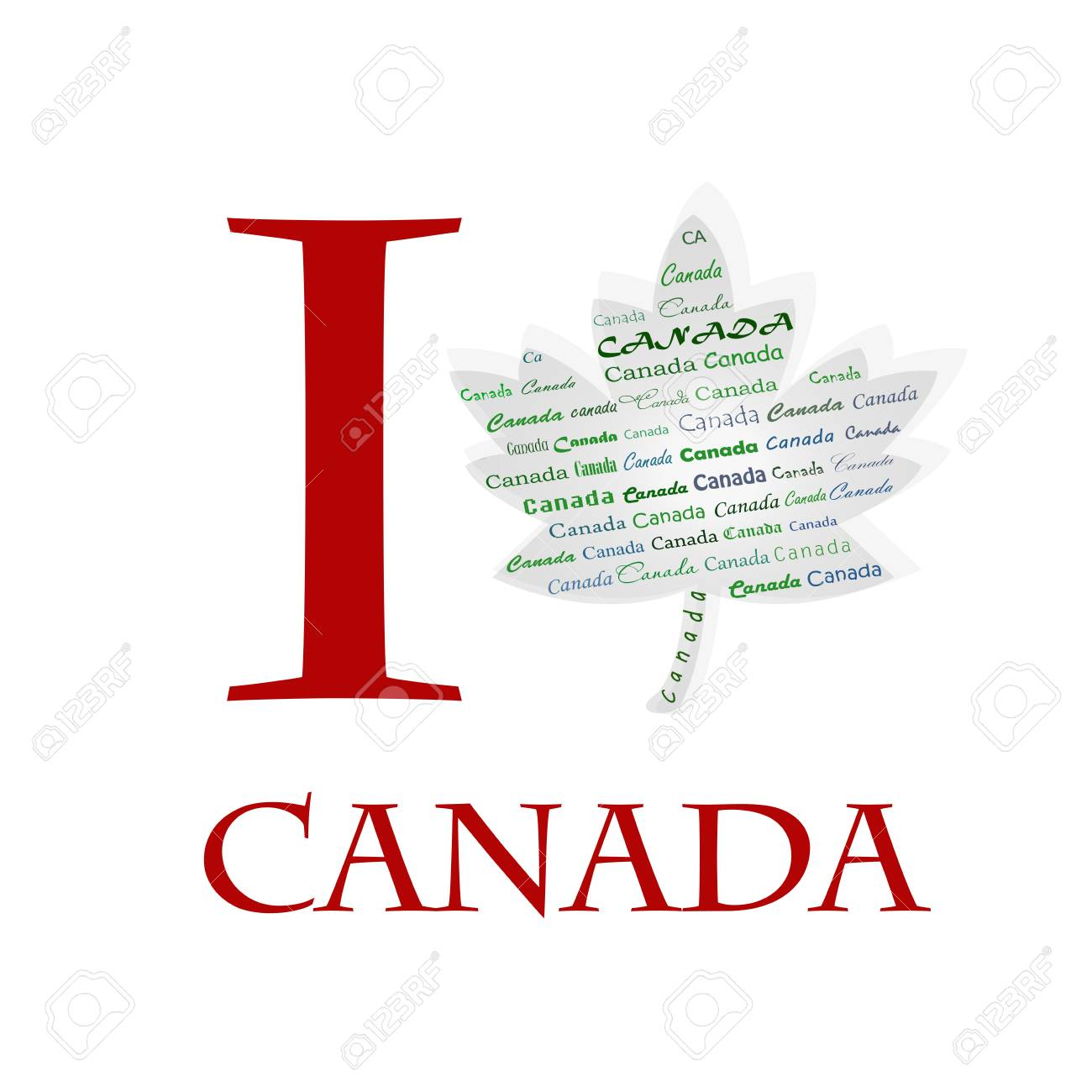 I love Canada on the maple pattern Stock Photo - 17457060