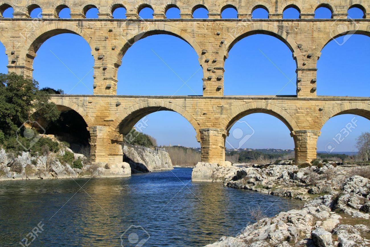 roman aqueduct at pont du gard france unesco world heritage