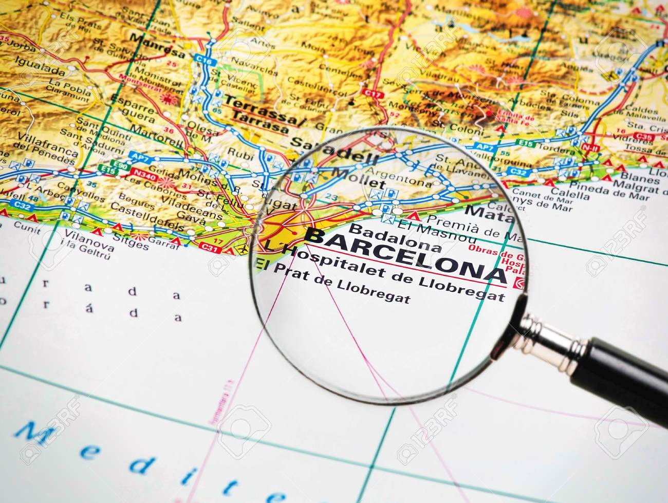 Focus on barcelone on the map source the big world atlas stock photo focus on barcelone on the map source the big world atlas stock photo 27752024 gumiabroncs Image collections