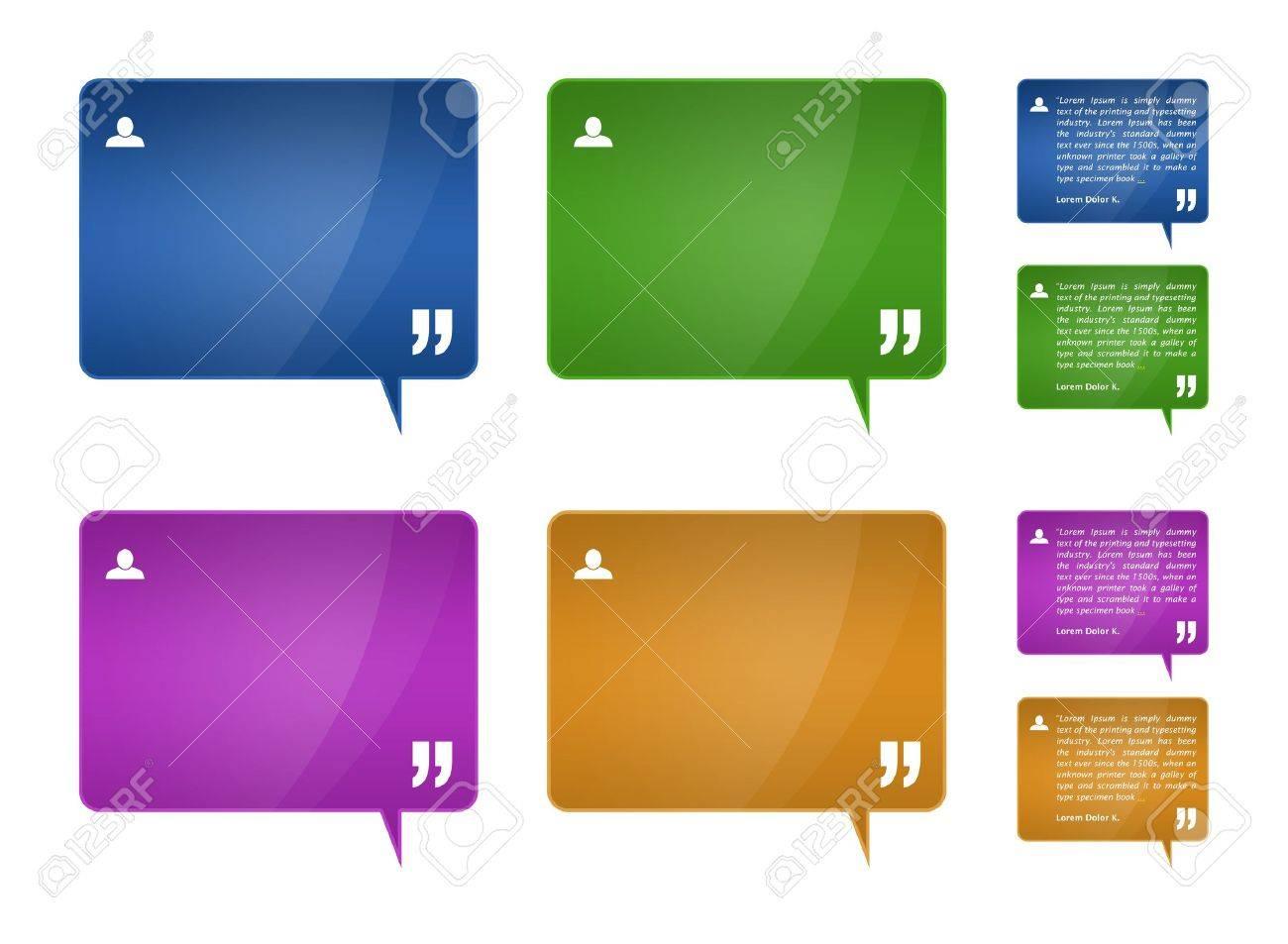 set of 4 detailed testimonials block for web template plus 4