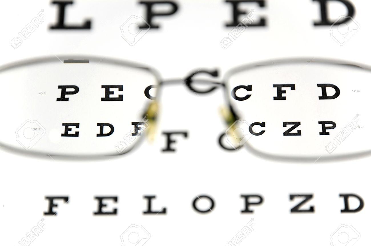 Eyeglasses and snellen eye chart the eye test chart is shown eyeglasses and snellen eye chart the eye test chart is shown blurred in the background geenschuldenfo Choice Image