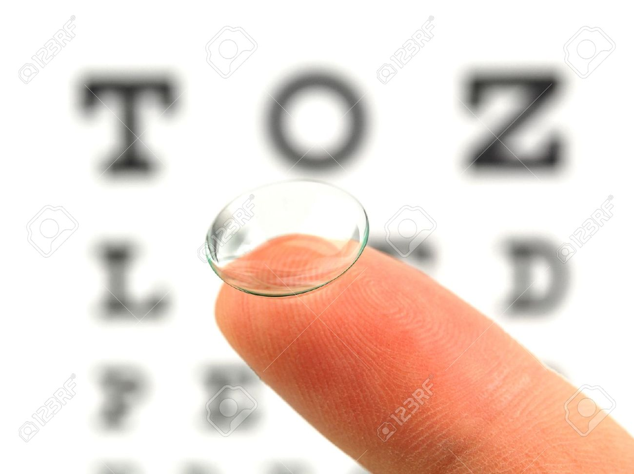Contact lens on finger and snellen eye chart the eye test chart is contact lens on finger and snellen eye chart the eye test chart is shown blurred nvjuhfo Choice Image