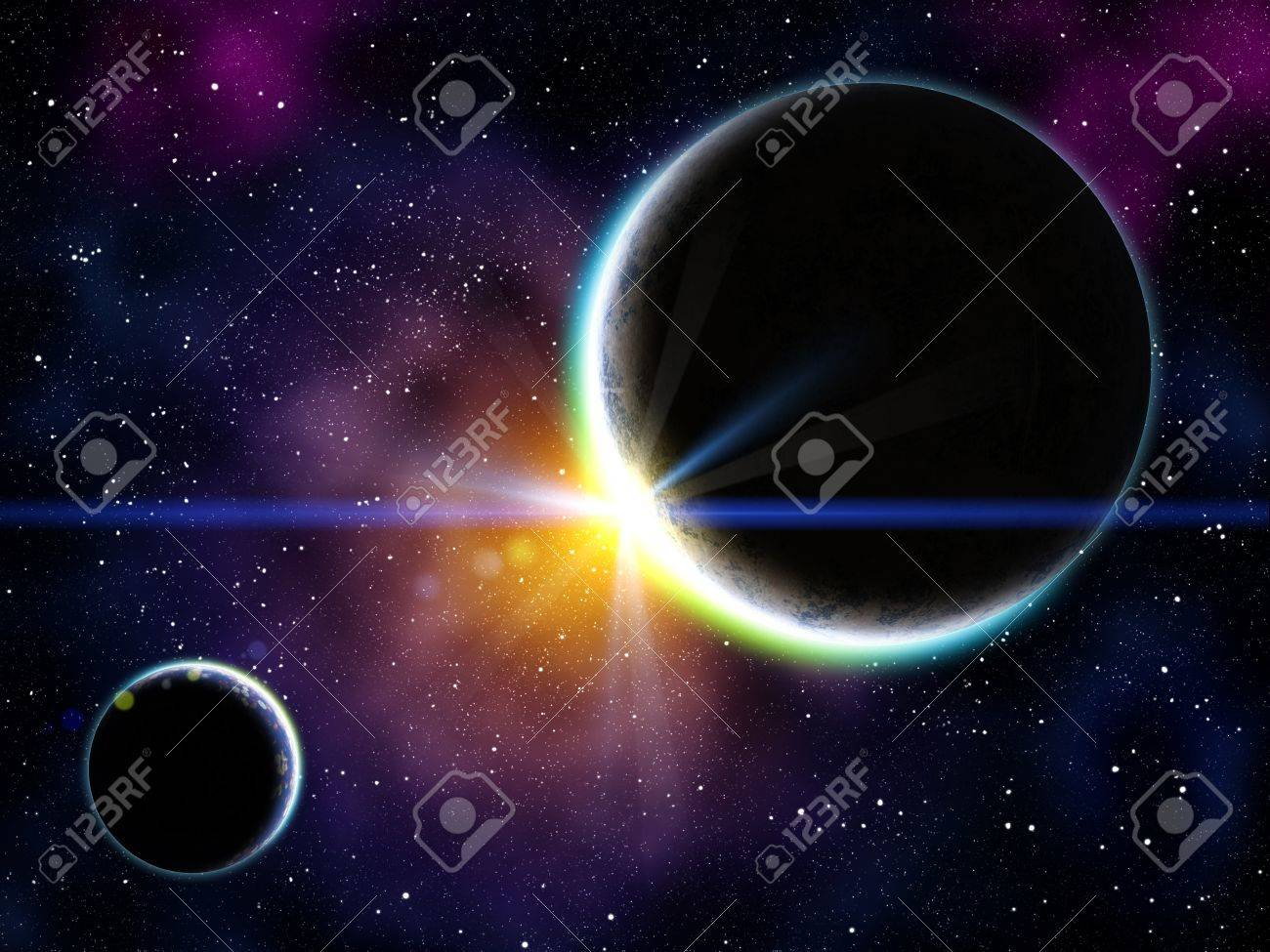 Nebula with stars and the two planet on the foreground Stock Photo - 11196648