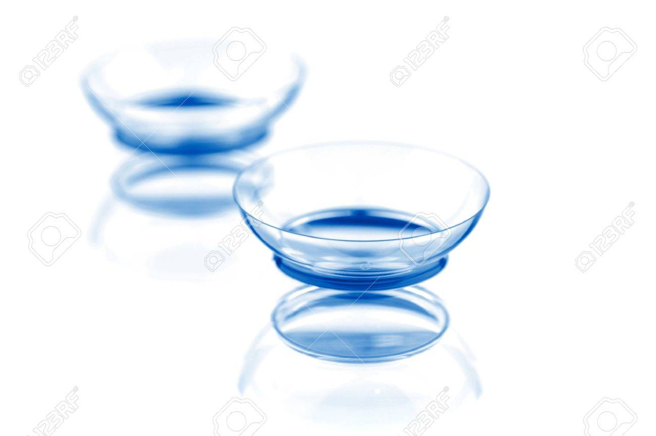 Two contact lenses with reflections, isolated on a white background Stock Photo - 12417187