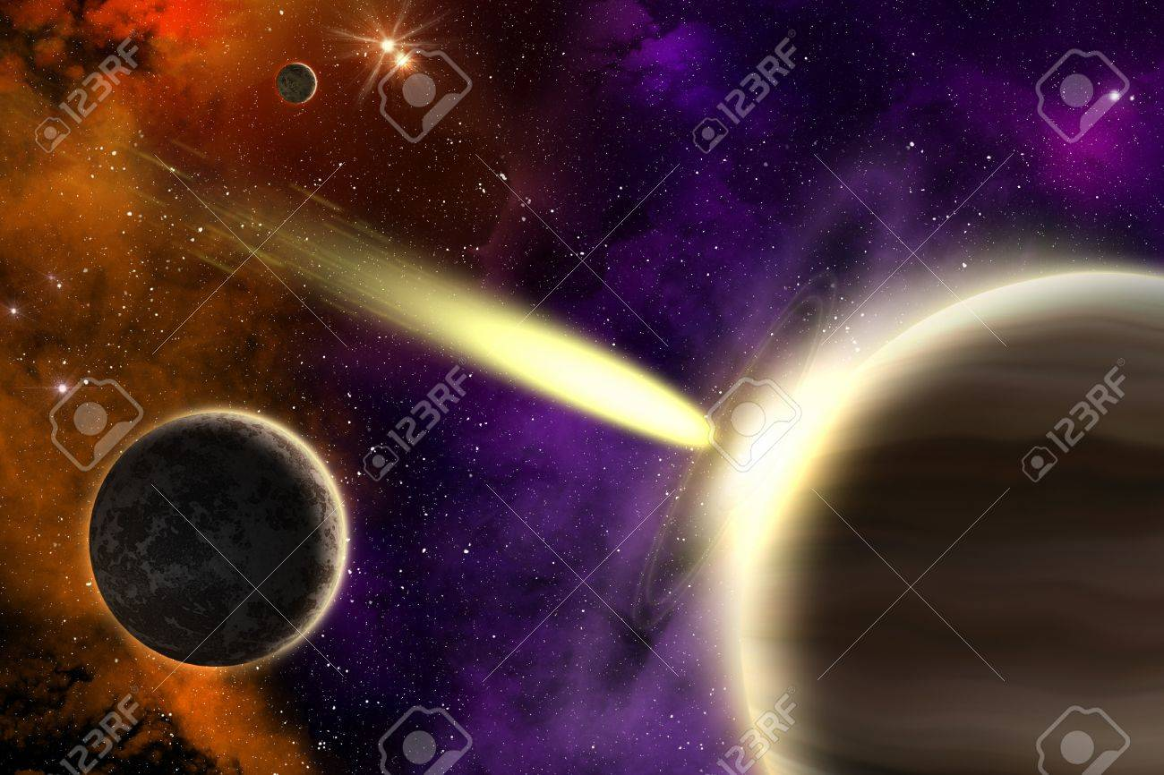 Planets in deep space with a flying comet  Apocalypse Stock Photo - 15689224