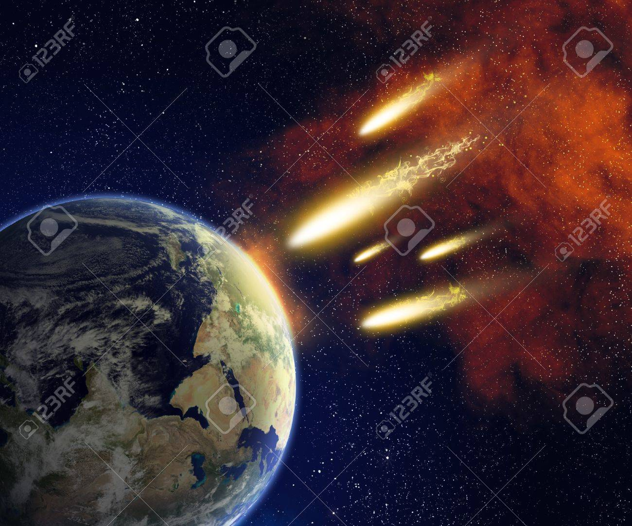 Earth and flying asteroids in space  Asteroid impact  catastrophe  elements furnished by NASA Stock Photo - 16452426