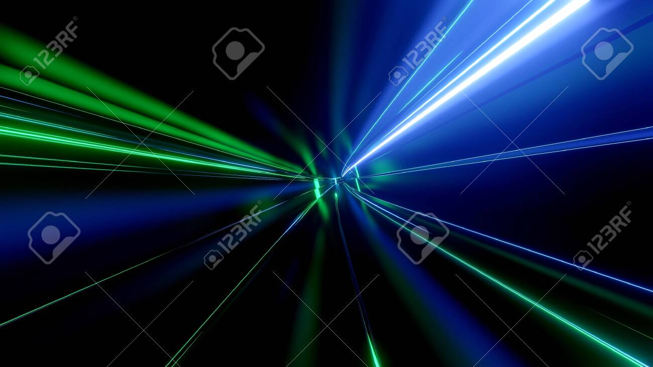 Sci-fi tunnel with neon lights. Abstract high-tech tunnel as background in the style of cyberpunk or high-tech future. - 141526414