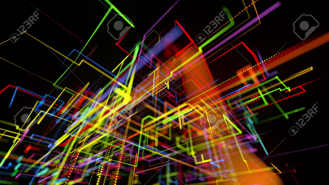 3d rendering sci-fi bg like abstract hologram. Multi color neon glow lines form digital 3d space. Connection concept, visualization of multiple calculations of various branches neural network or AI - 154581550