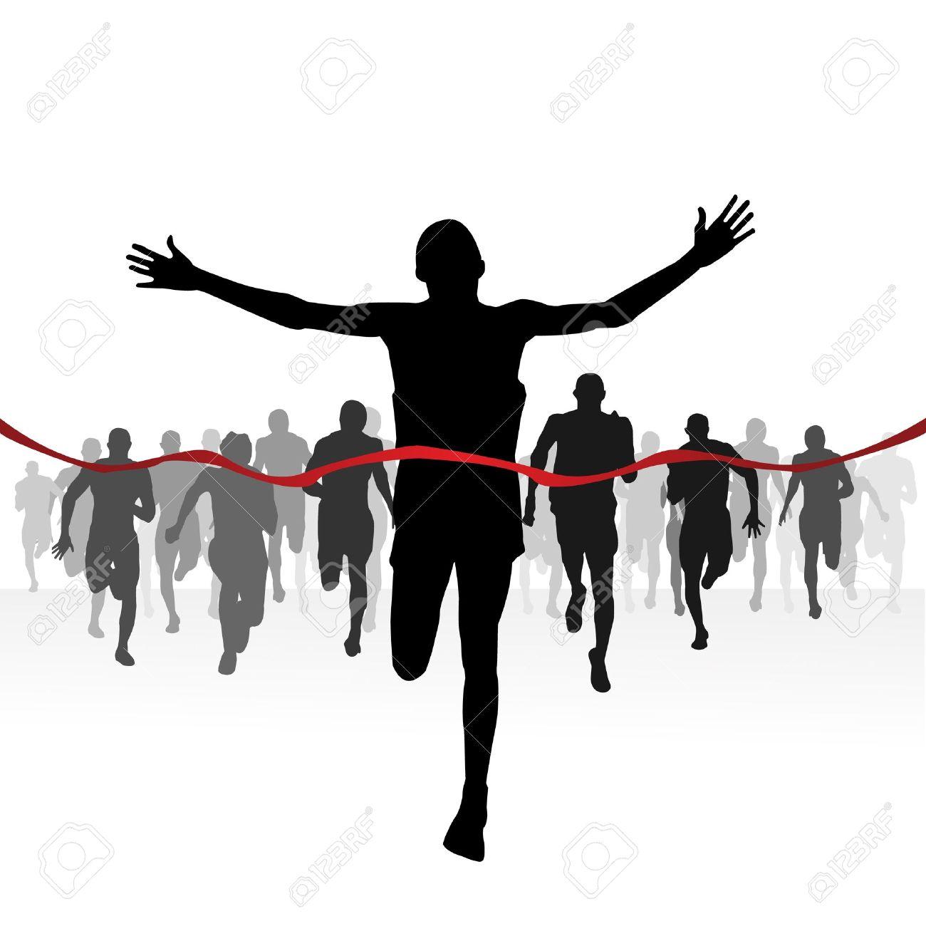 Marathon Runners Finishing Line Stock Vector