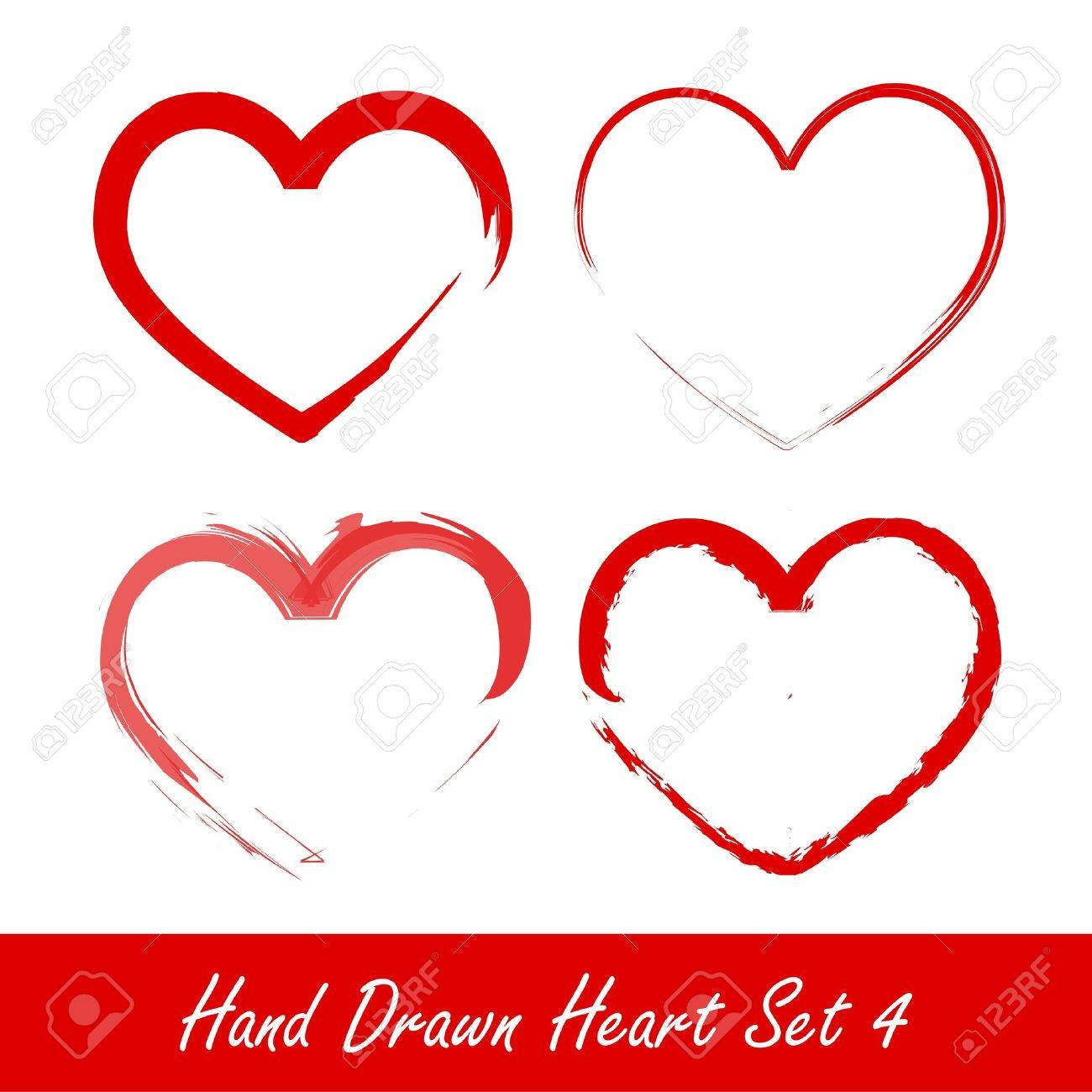 Hand drawn heart set 4 Stock Vector - 11893497