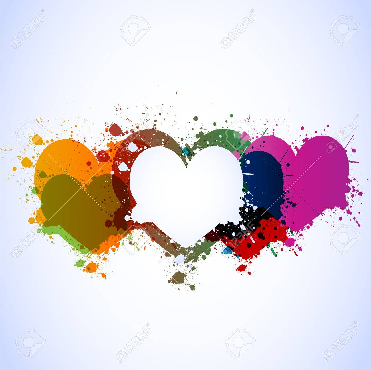 colorful grunge hearts background Stock Vector - 12483063