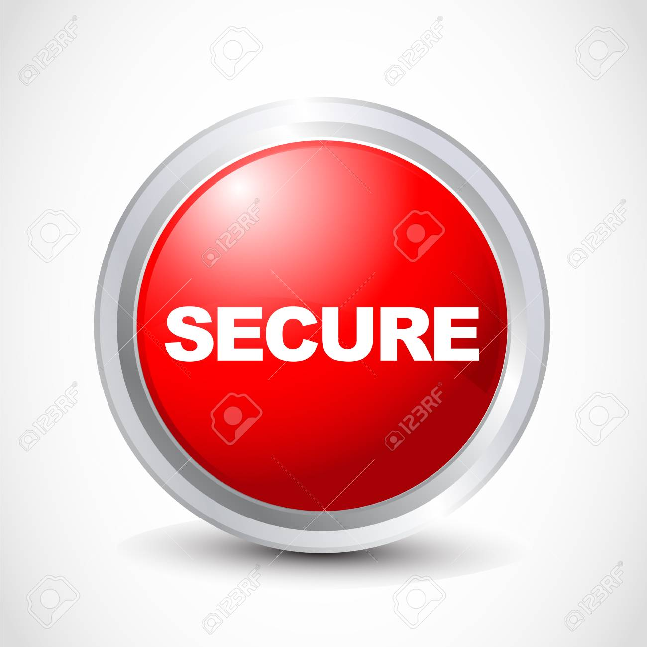 Secure glossy button Stock Vector - 12840789