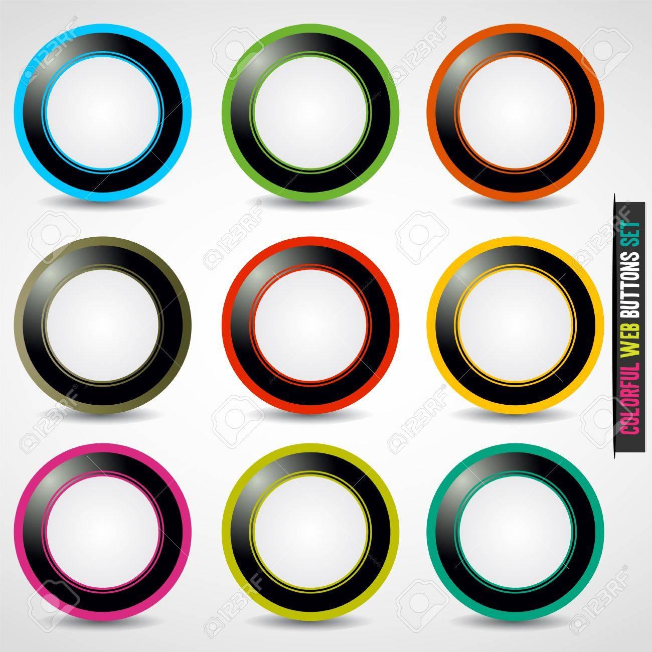Colorful web button set Stock Vector - 13029059