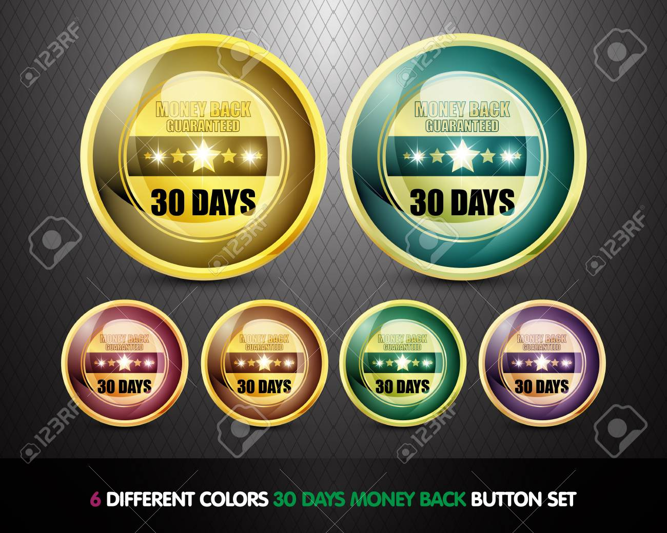 Colorful Money back guaranteed  30 Days  button Set Stock Photo - 13029034