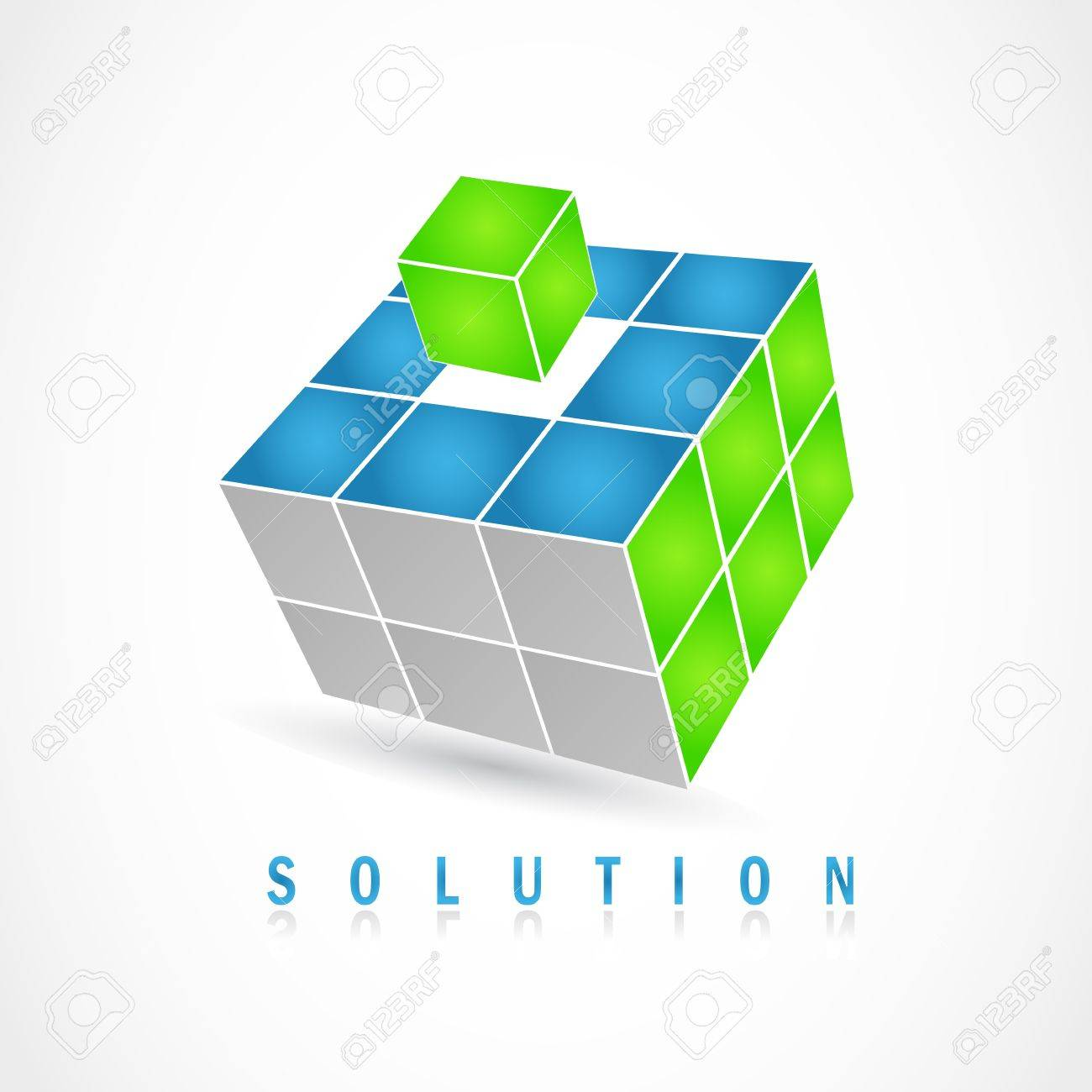 Cube puzzle in vector with 3d effect - 13655209