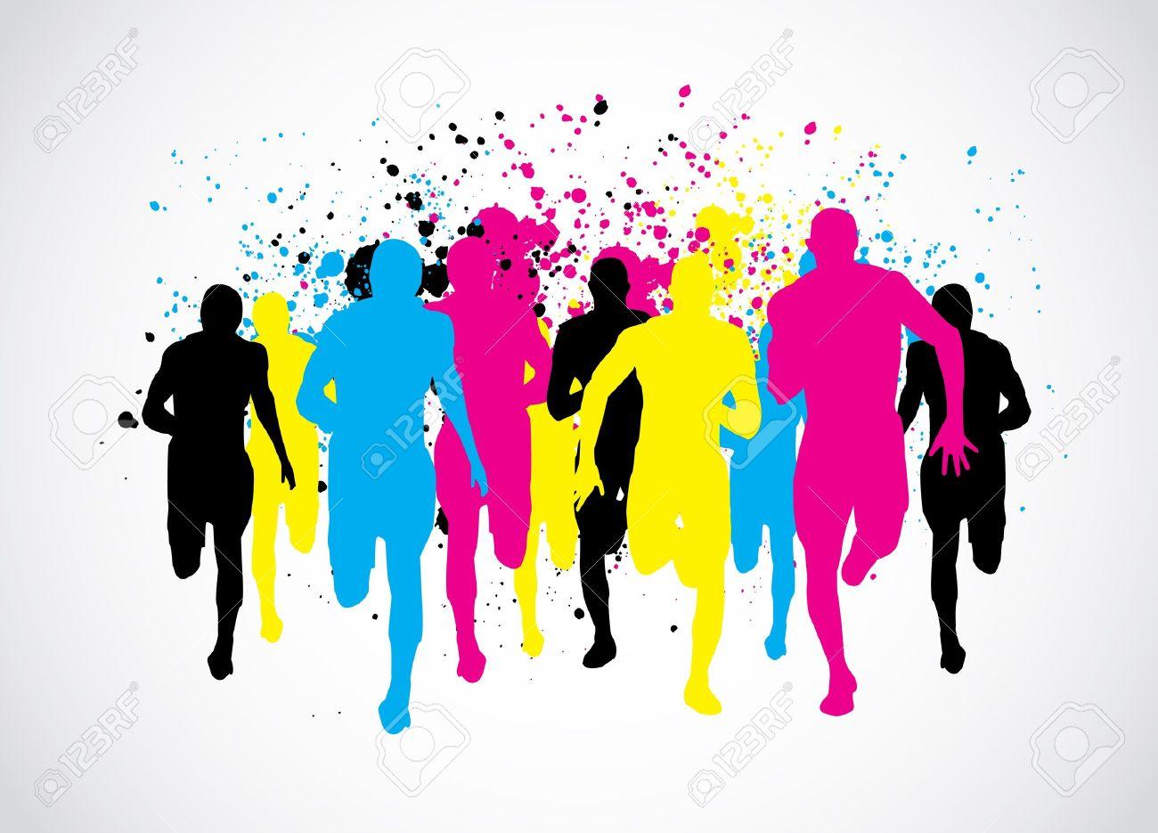 CMYK Marathon Runners Stock Vector