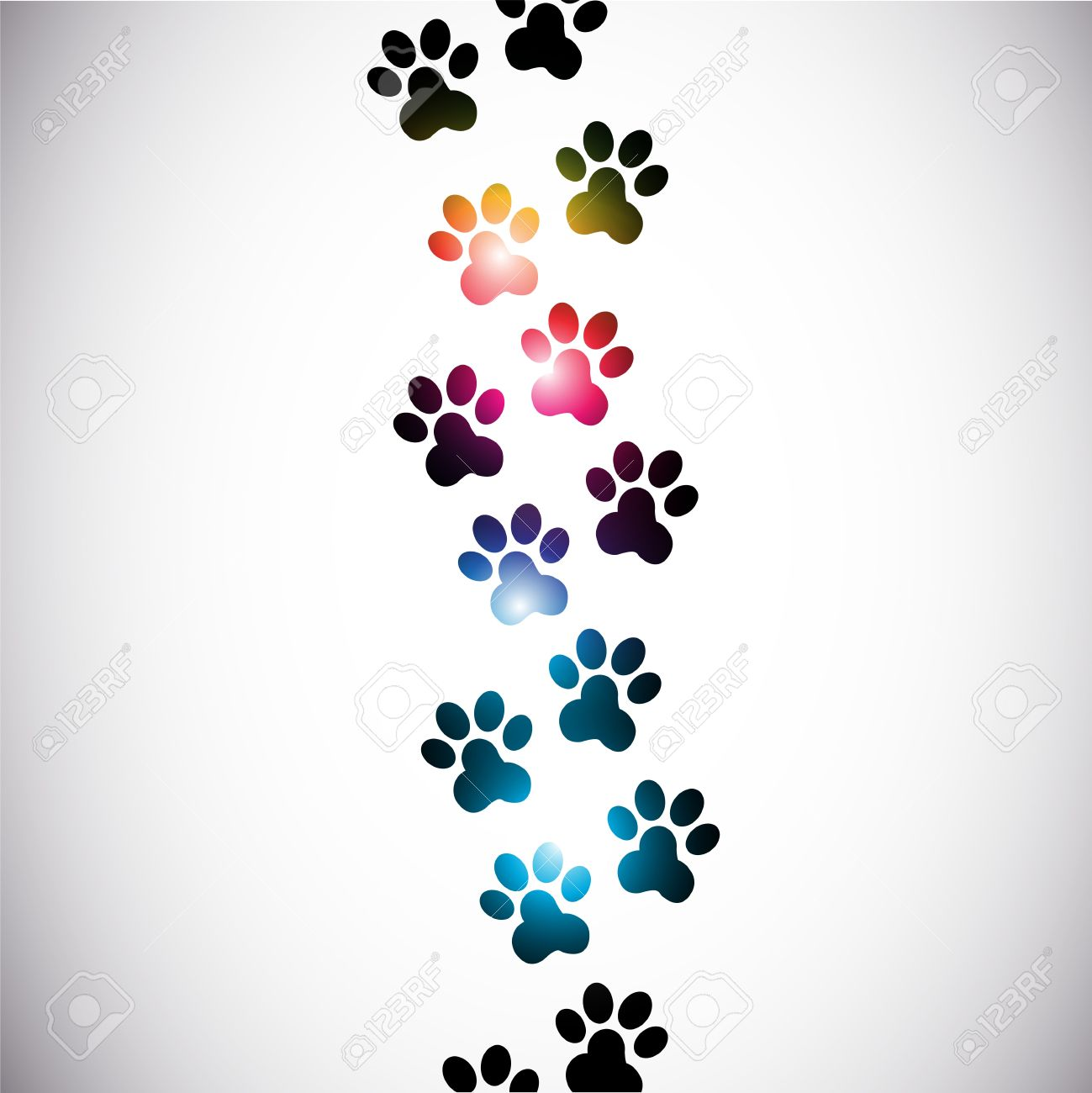 abstract colorful paw prints Stock Vector - 15600639