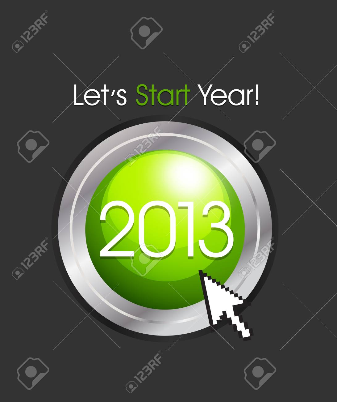 2013 New Year Button Stock Vector - 15821034