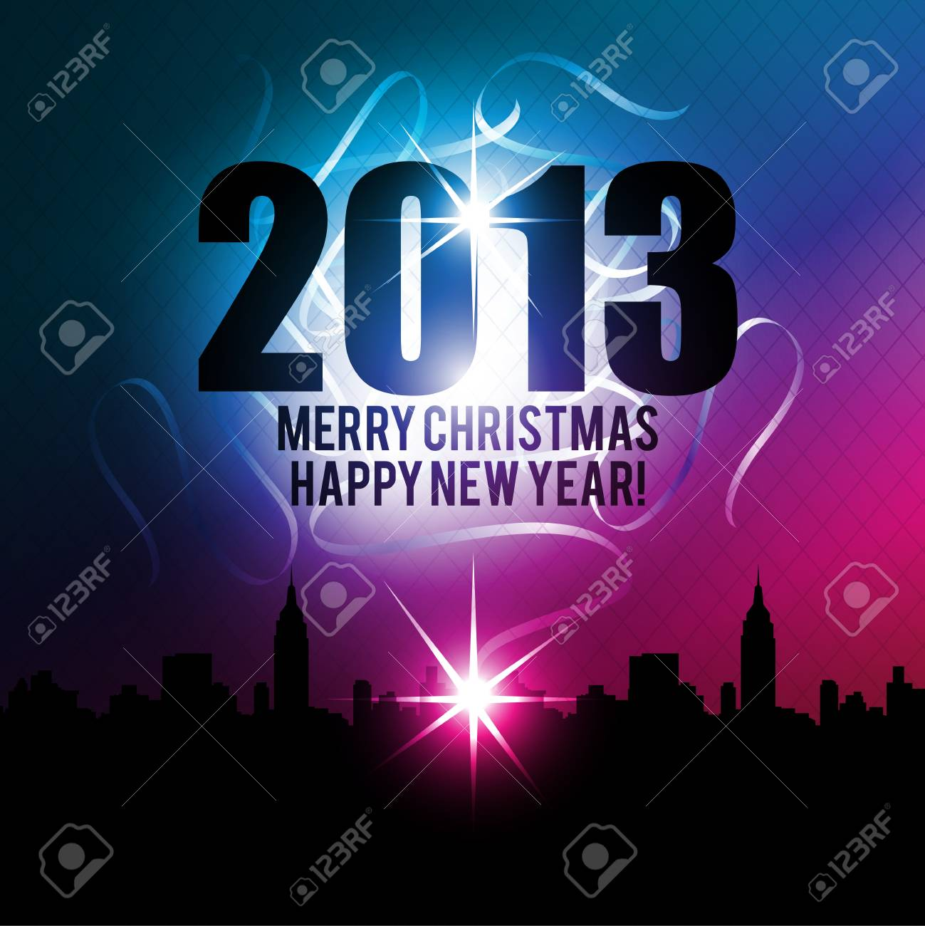 new year christmas 2013 midnight in city Stock Photo - 15841817