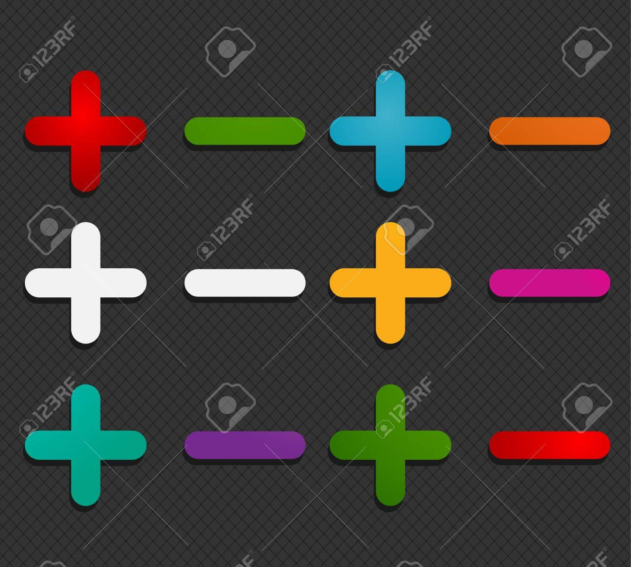 colorful plus minus labels Stock Vector - 16024235