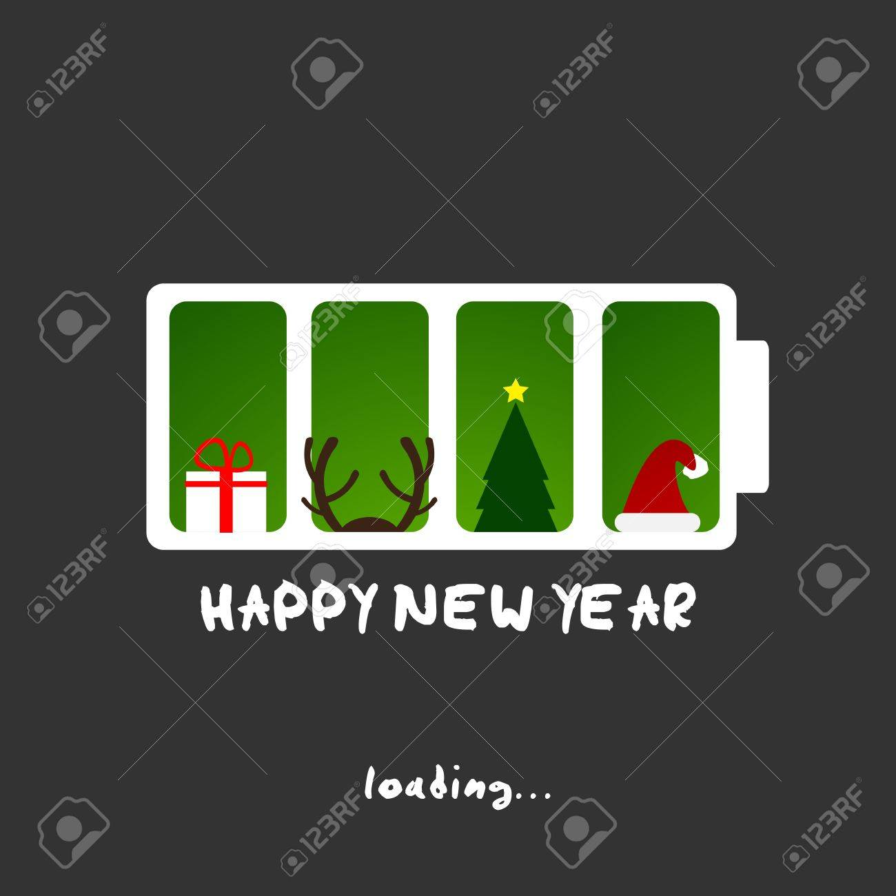 happy new year, christmas funny card design Stock Vector - 16431086