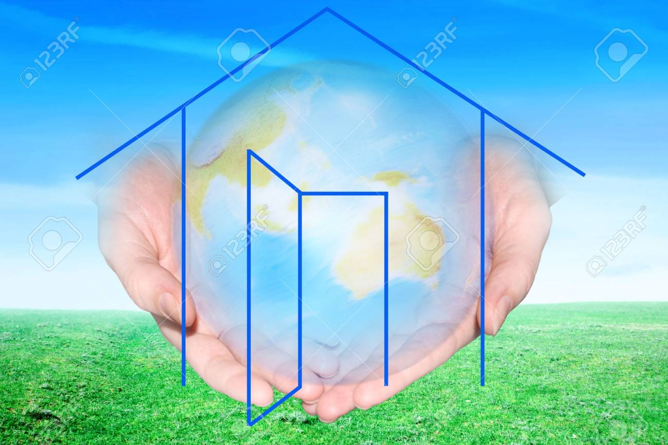 drawing of the building on background of the planet on palm Stock Photo - 3055816