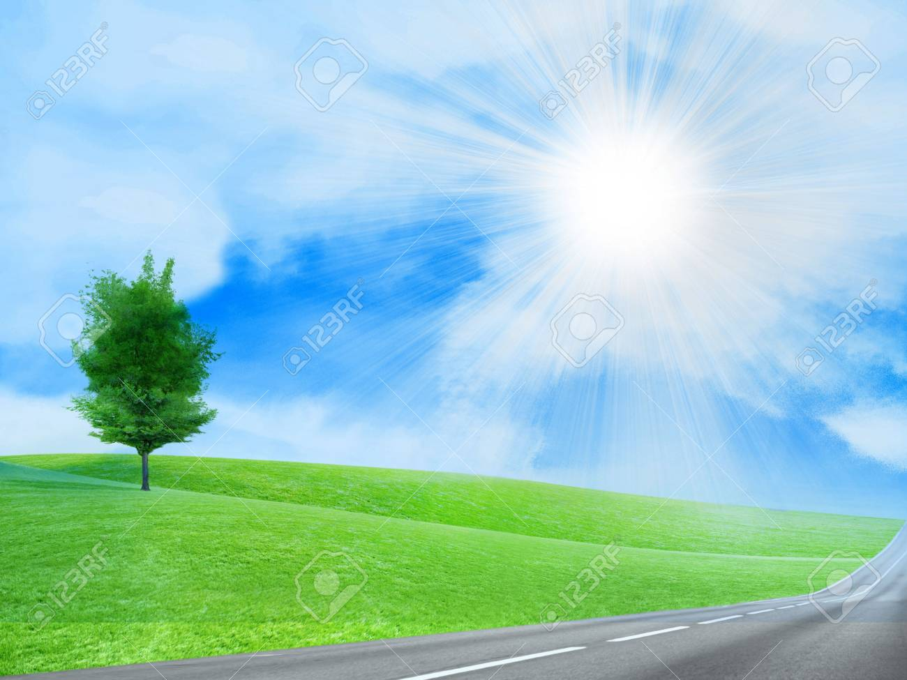abstract scene of the road under blue sky Stock Photo - 4456561