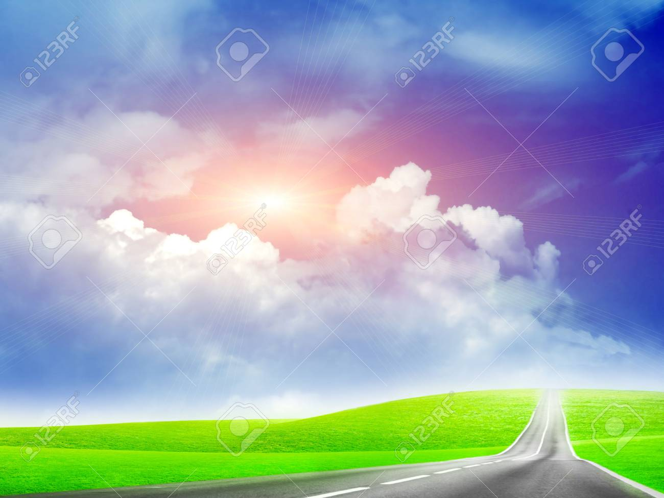 abstract landscape with road and blue sky Stock Photo - 4479849