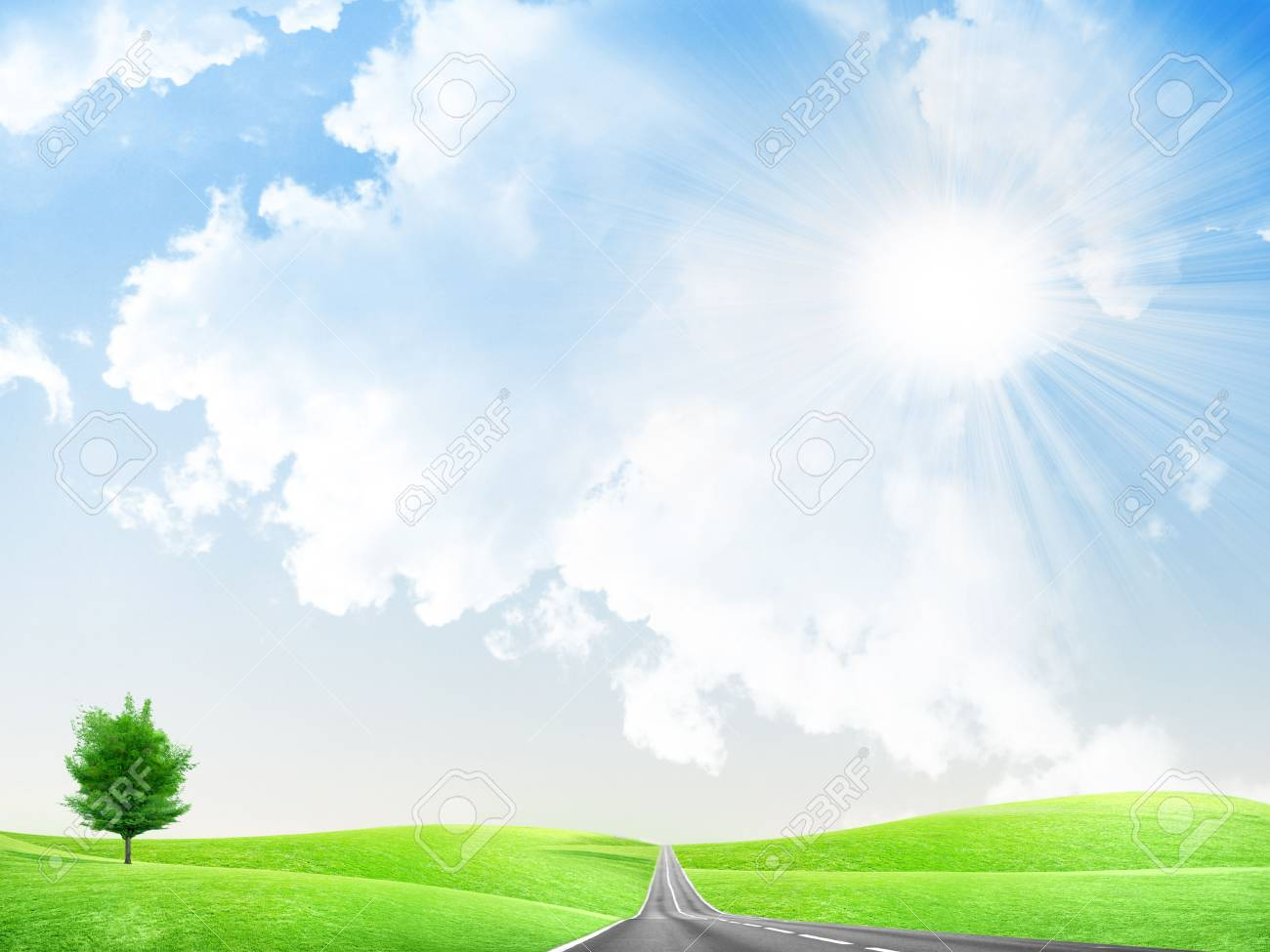 abstract landscape with road and blue sky Stock Photo - 4479864