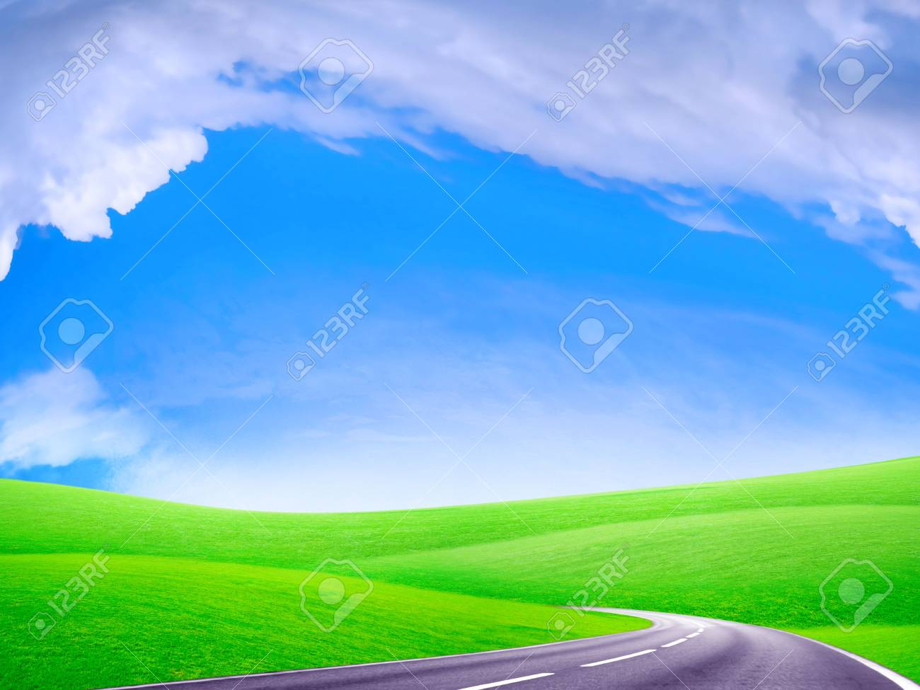 route on plain under abstract solar sky Stock Photo - 4565322