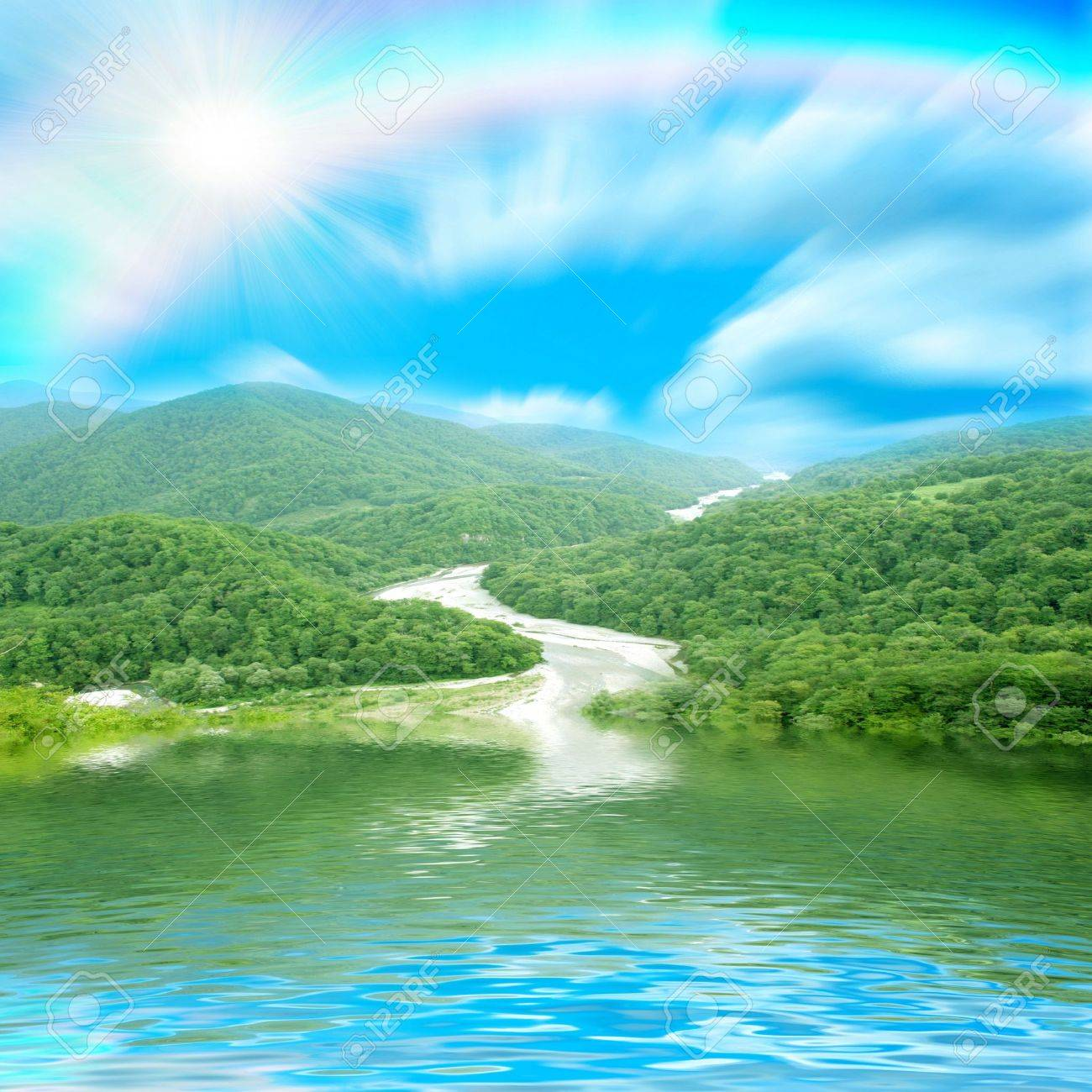 reflections mountain landscape in surfaces lake Stock Photo - 7549896