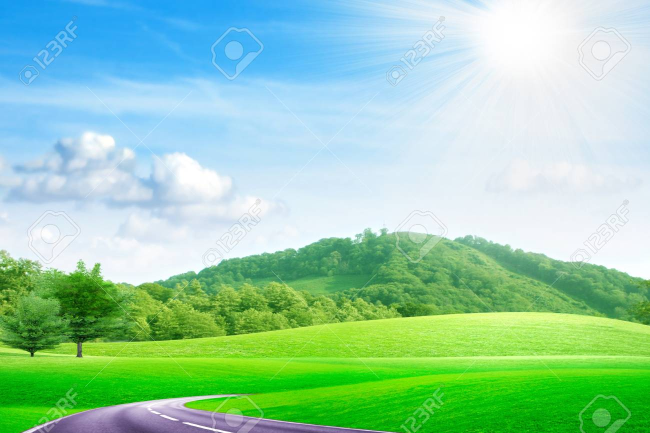 summer landscape with road and blue sky Stock Photo - 8427411