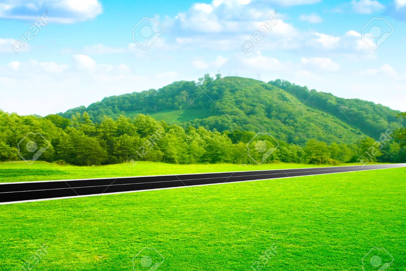 abstract scene car road on green meadow Stock Photo - 8539655