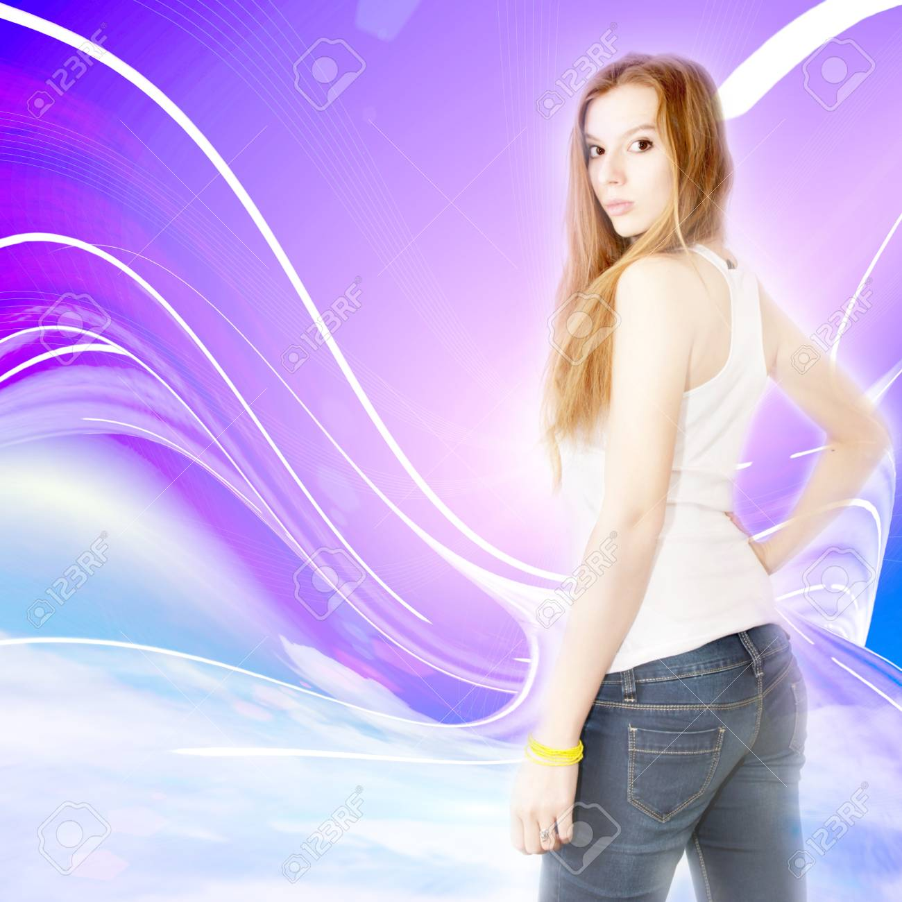 abstract scene redheaded girl and solar sky Stock Photo - 13092837