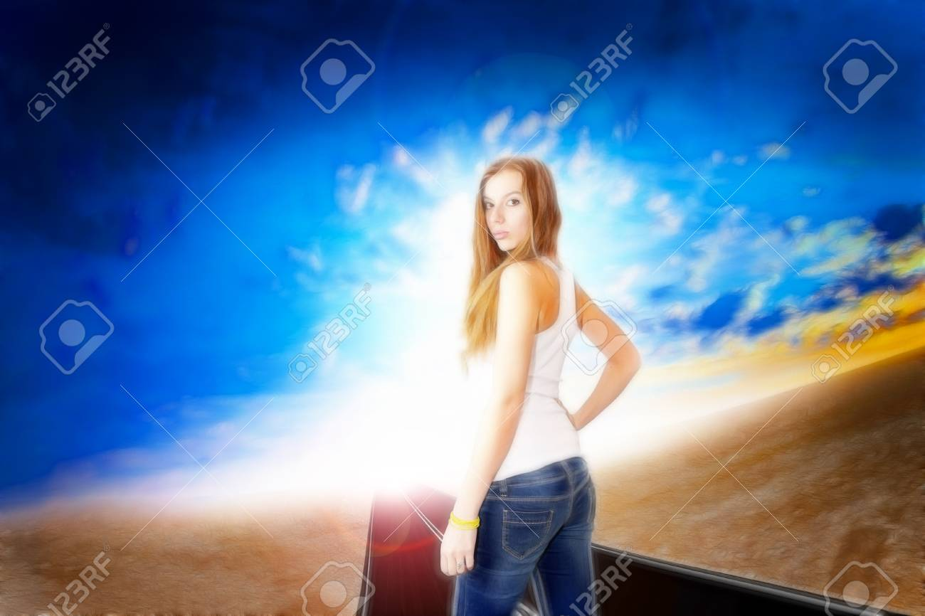 abstract portrait cheerful girl on the fantasy background Stock Photo - 16901921