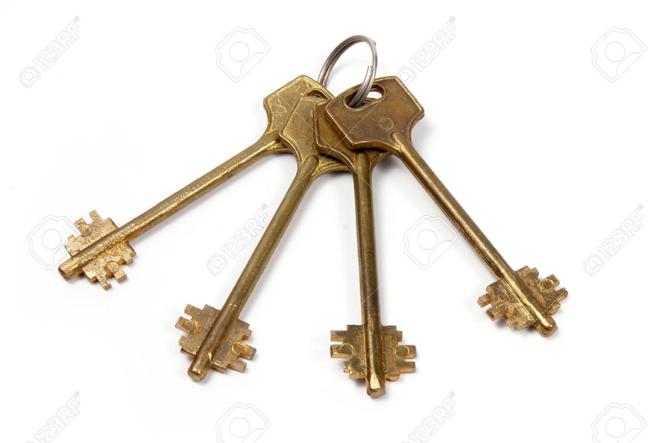 ligament on metallic ring big key for lock Stock Photo - 17018832