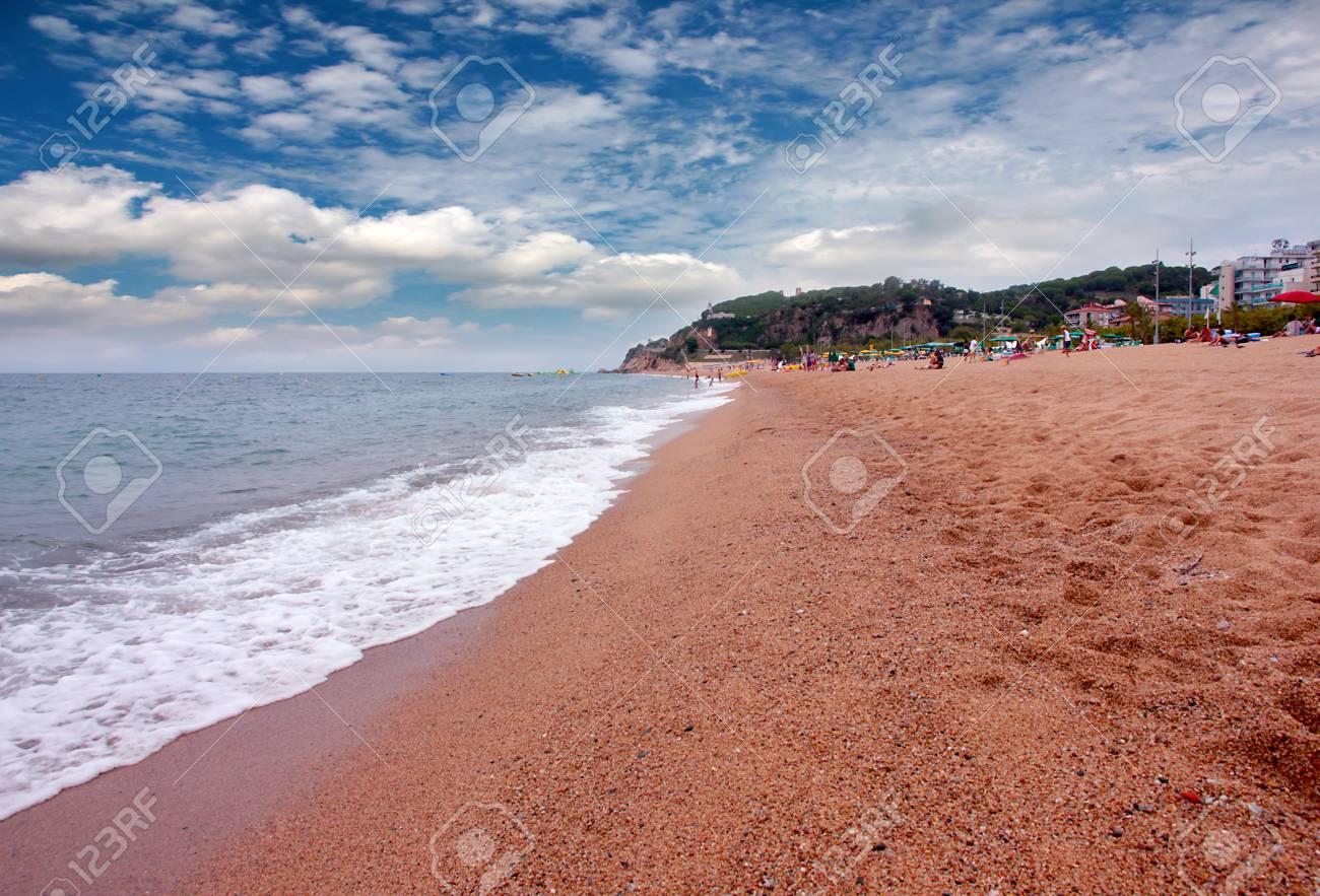 Beautiful sandy beach on the Mediterranean Sea next to Barcelona, ??Spain - 83938277