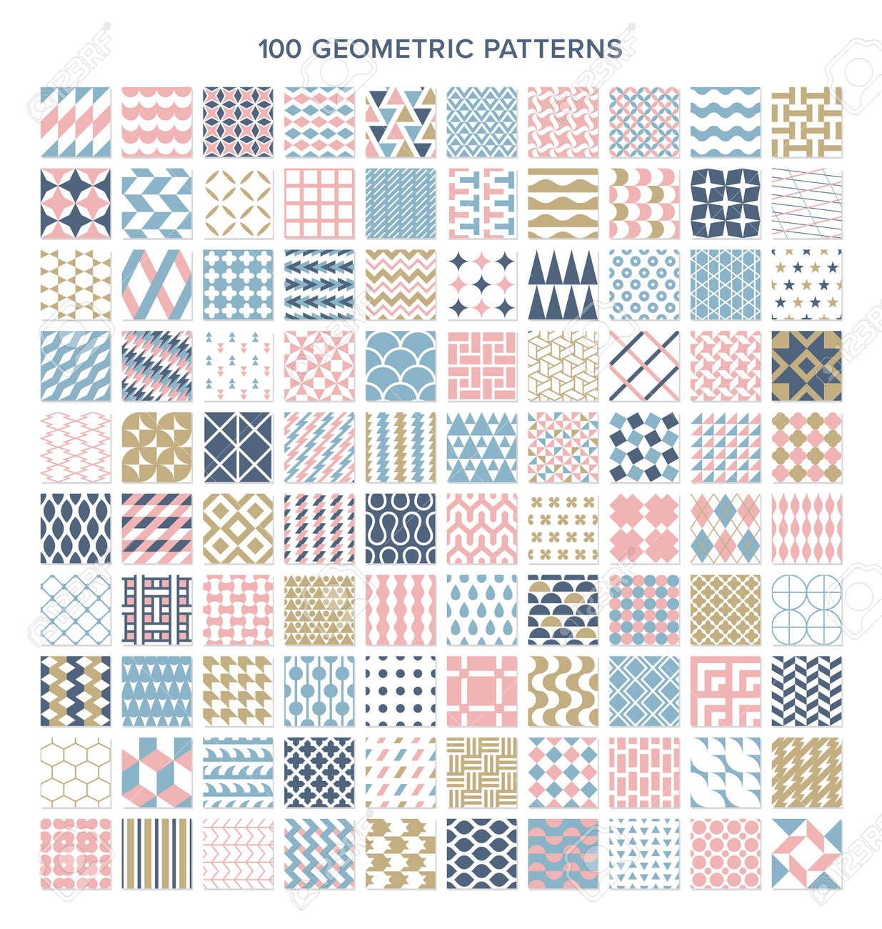 Seamless patterns with 100 geometric patterns - 168346976
